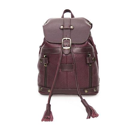 Бордовая кожаная сумка рюкзак «Джуди»
