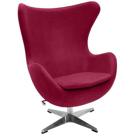 Кресло EGG CHAIR винный, искусственная замша