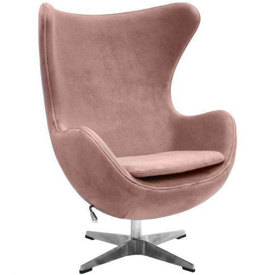 Кресло EGG CHAIR пыльно-розовый, искусственная  замша