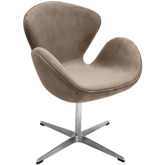 Кресло SWAN CHAIR латте, искусственная замша