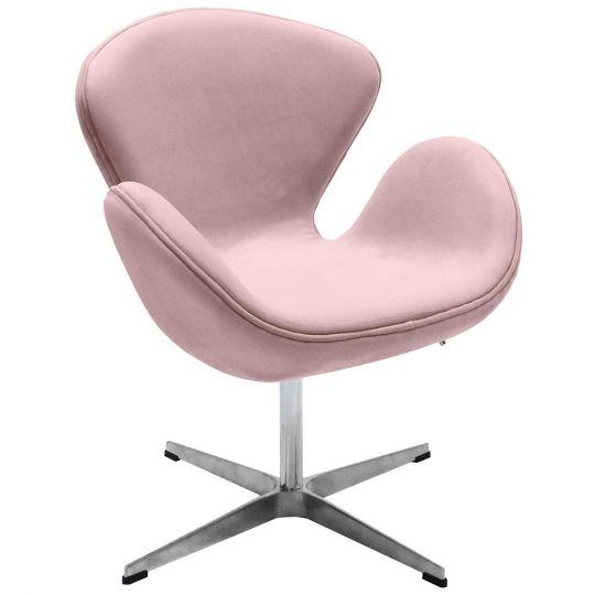 Кресло SWAN CHAIR пудровый, искусственная замша