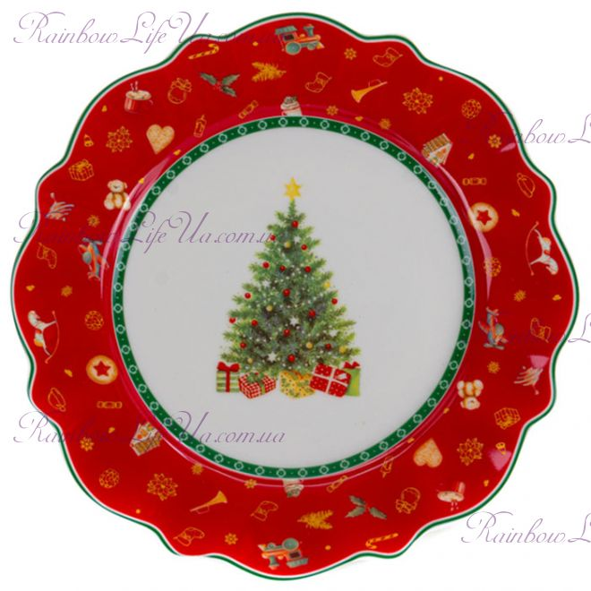 "Тарелка новогодняя 21 см ""Christmas tree"" красная"