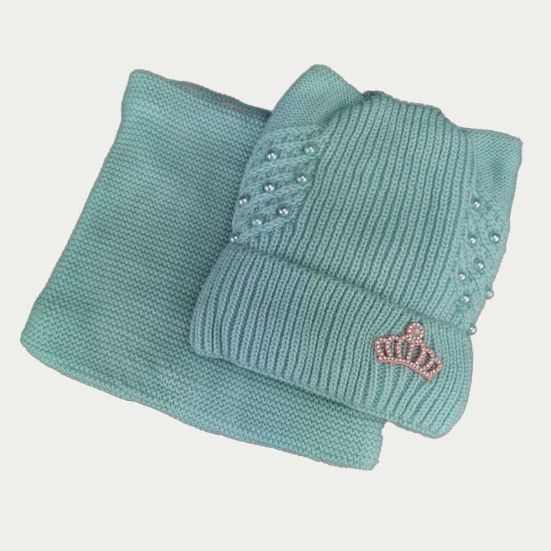 зд1246-34 Комплект вязаный кошечка шапка/снуд Корона мята