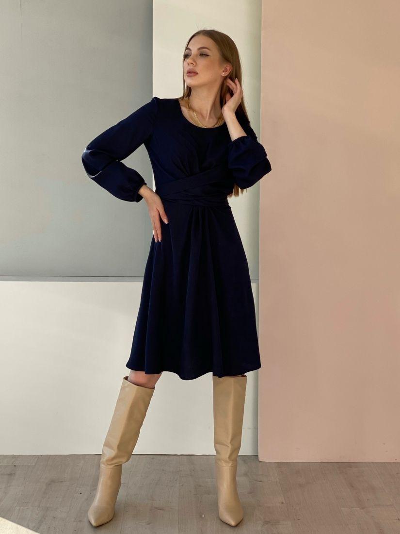 4696 Платье с перекрутами синее