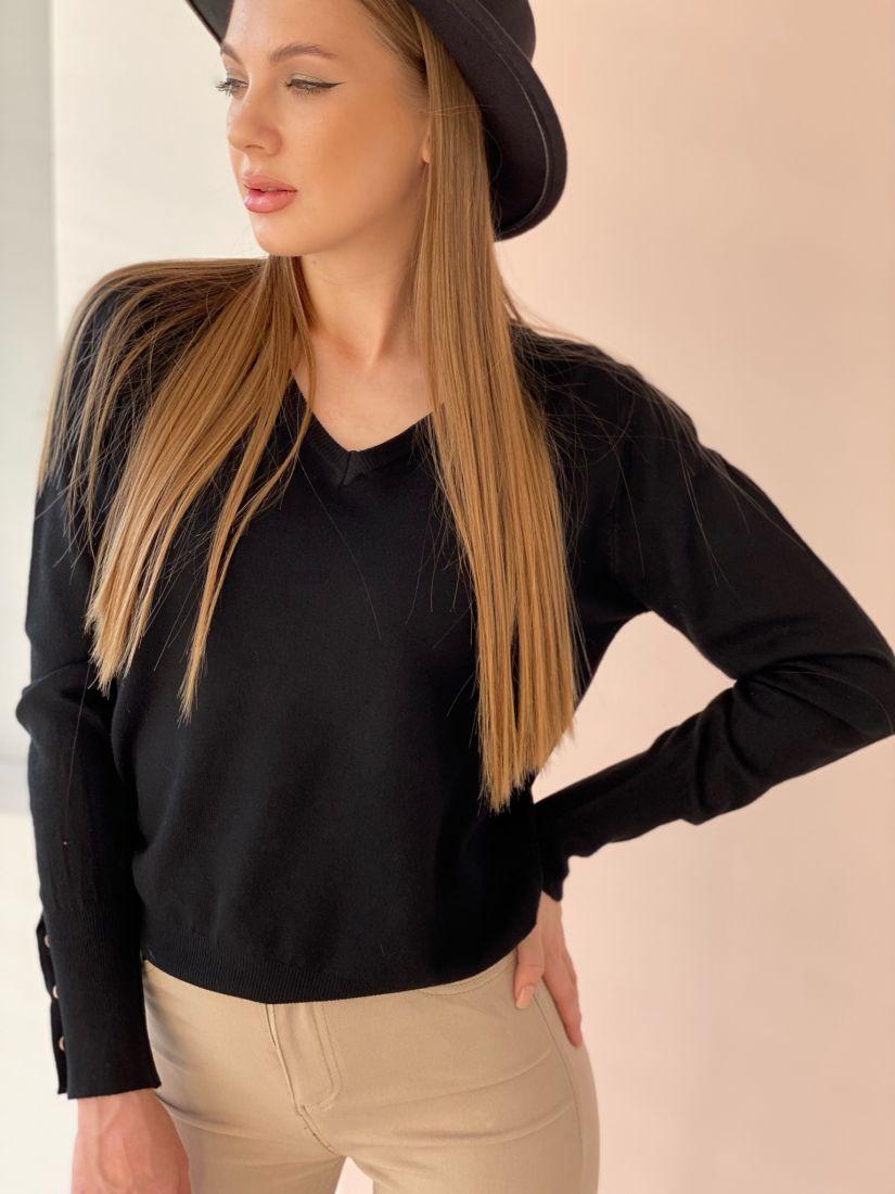 4700 Тонкий пуловер чёрный