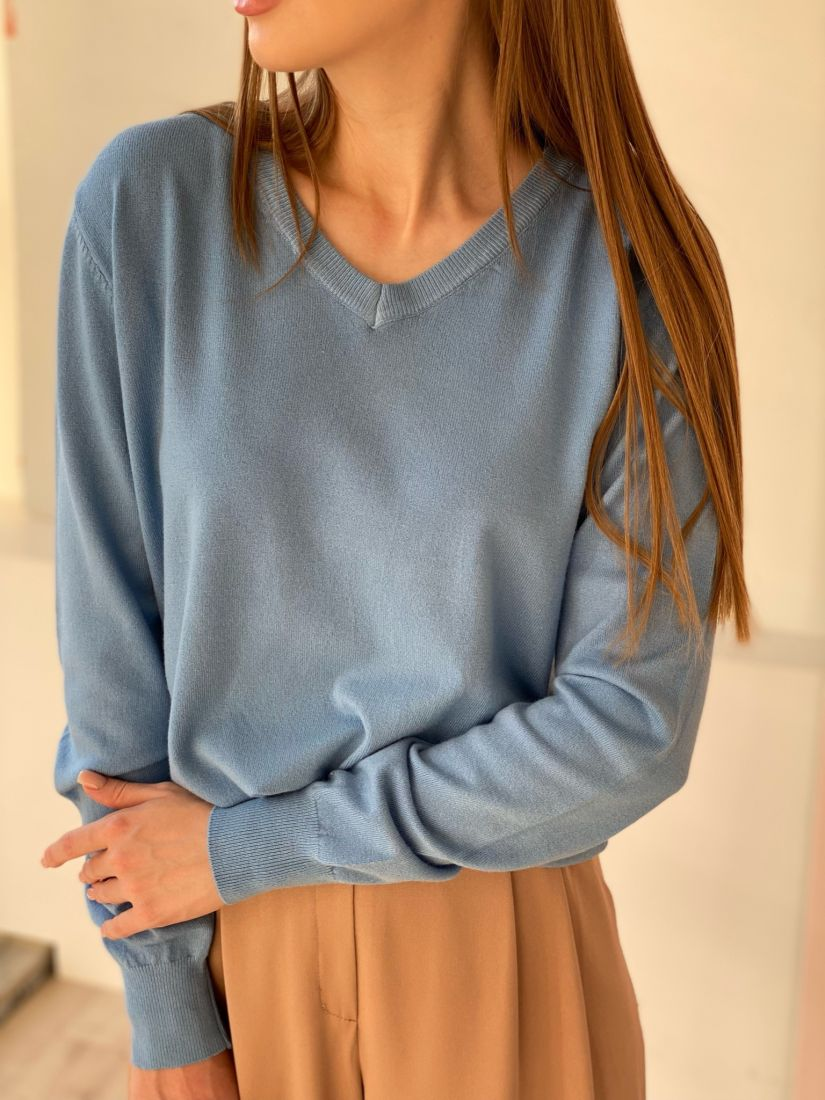 4701 Тонкий пуловер тёмно-голубой