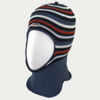 зм1218-52 Шлем вязаный двойной Полоски сизый