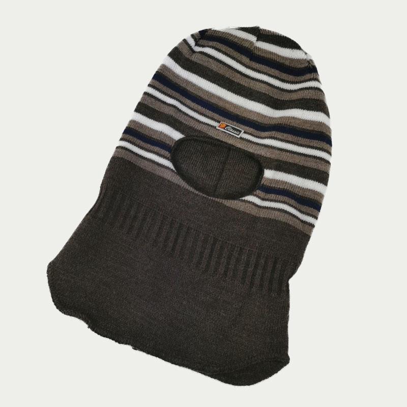 зм1218-67 Шлем вязаный двойной Полоски шоколад