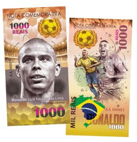 1000 Reais (реалов) Бразилия - Роналдо. Легенды футбола (Ronaldo Luís Nazário de Lima. Brasil). UNC