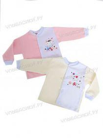 У2484 Кофта длинный рукав с аппликацией для девочки (интерлок)