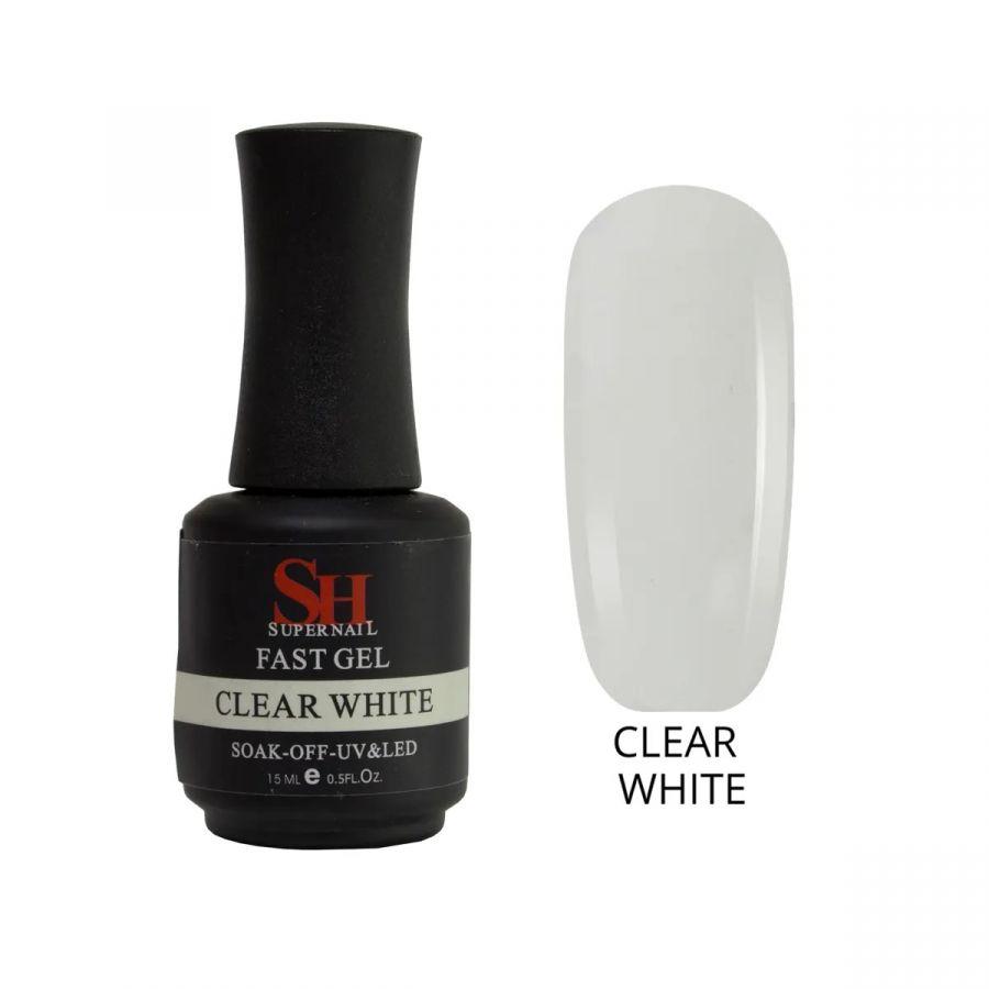 Гель SH Fast Gel для моделирования ногтей камуфлирующий CLEAR WHITE, 15 мл
