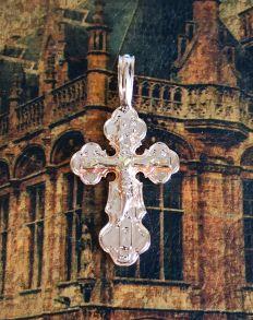 Крупный позолоченный крест с имитацией алмазной гравировки (арт. 250340)