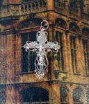 Позолоченный ажурный крест с имитацией алмазной гравировки (арт. 250342)