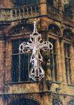 Позолоченный ажурный крест с имитацией алмазной гравировки (арт. 250343)