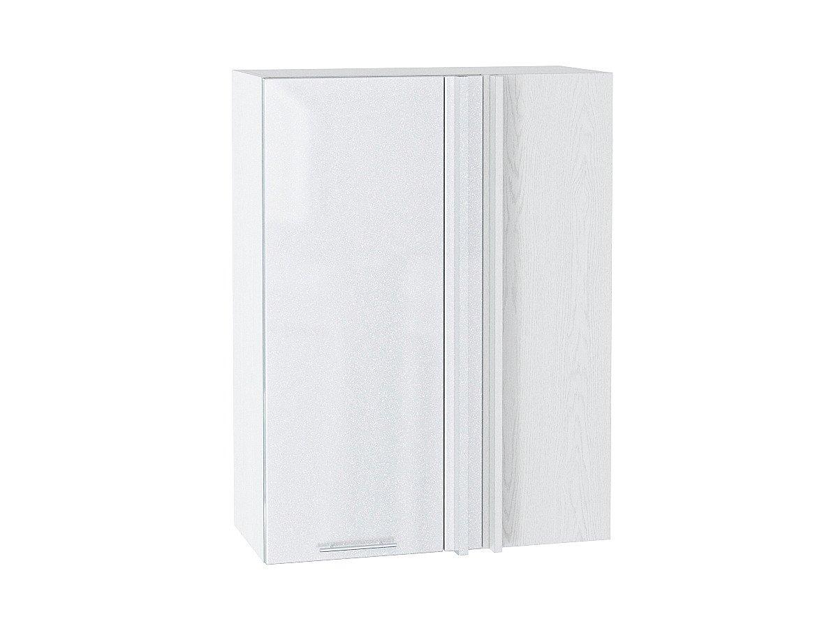 Шкаф верхний угловой Валерия ВУ699 белый металлик