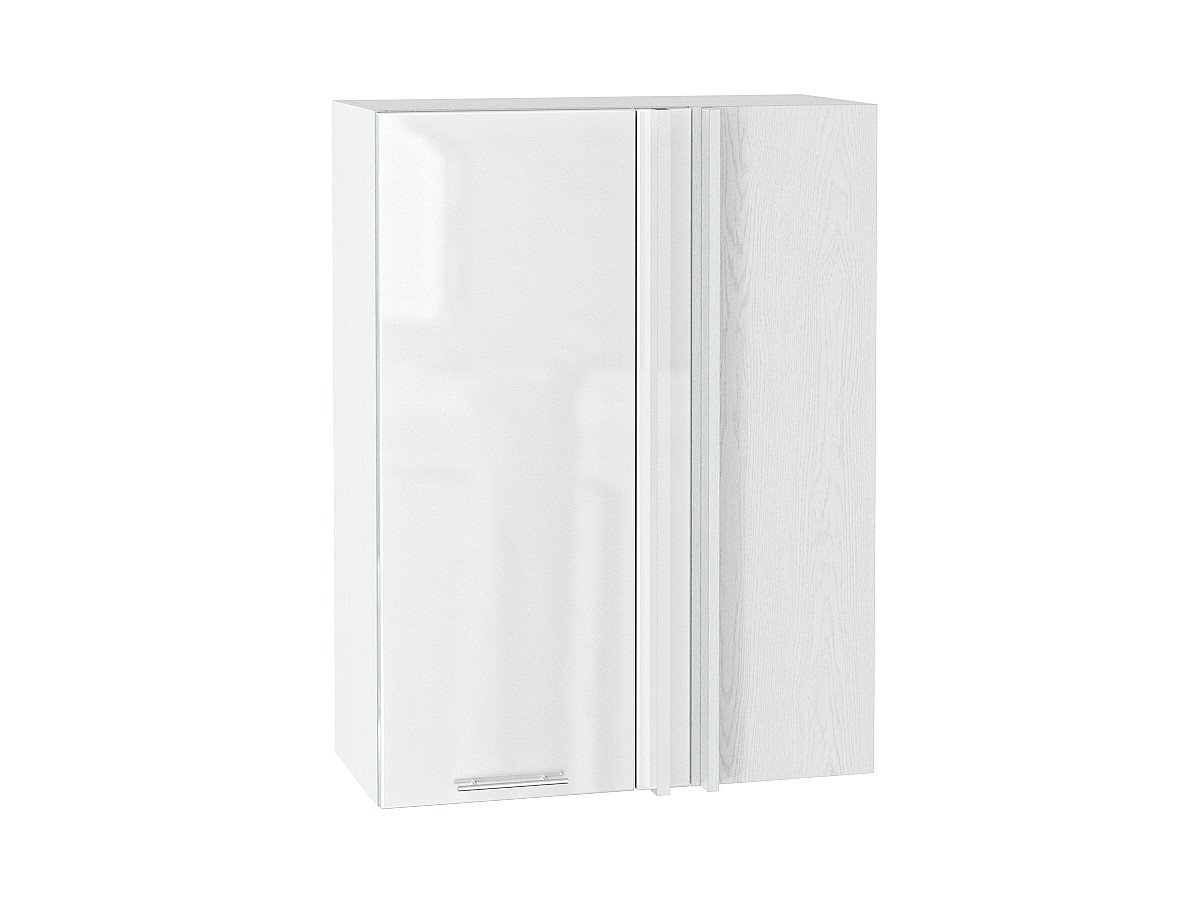 Шкаф верхний угловой Валерия ВУ699 белый глянец