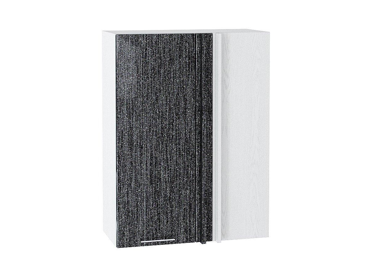 Шкаф верхний угловой Валерия ВУ699 чёрный металлик дождь