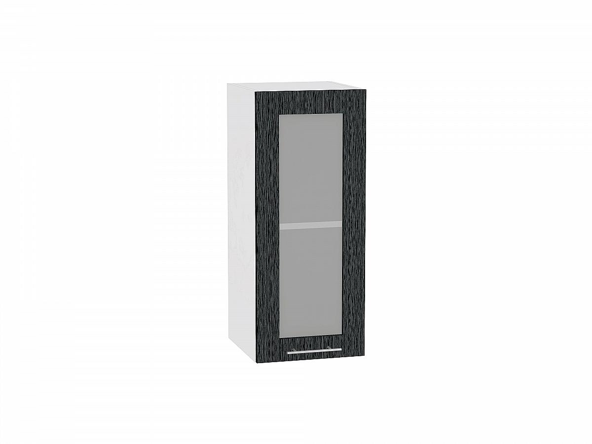 Шкаф верхний Валерия В309 со стеклом (чёрный металлик дождь)