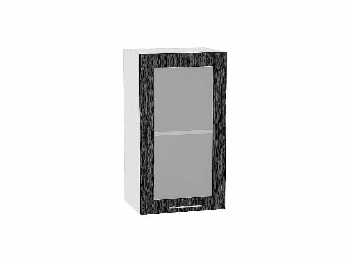 Шкаф верхний Валерия В409 со стеклом (чёрный металлик дождь)