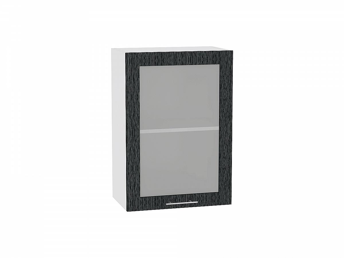 Шкаф верхний Валерия В509 со стеклом (чёрный металлик дождь)