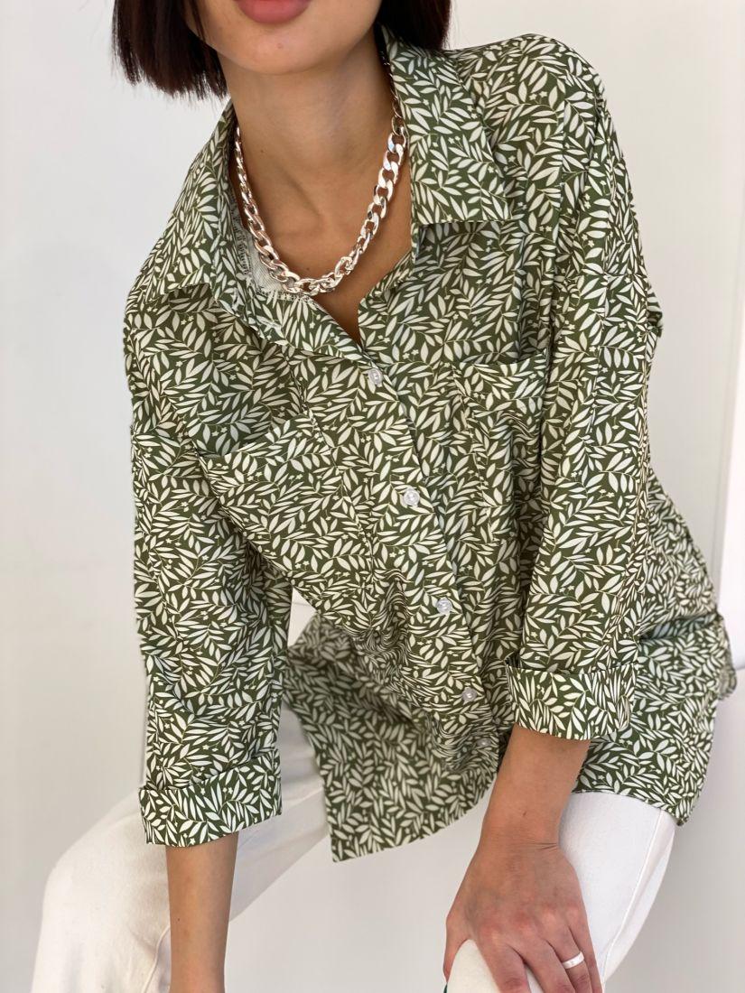 """4706 Рубашка """"оверсайз"""" с актуальным принтом"""