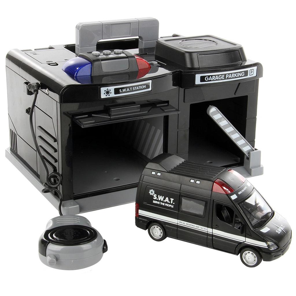 clm-558 гараж с машиной swat, металл звук свет микрофон