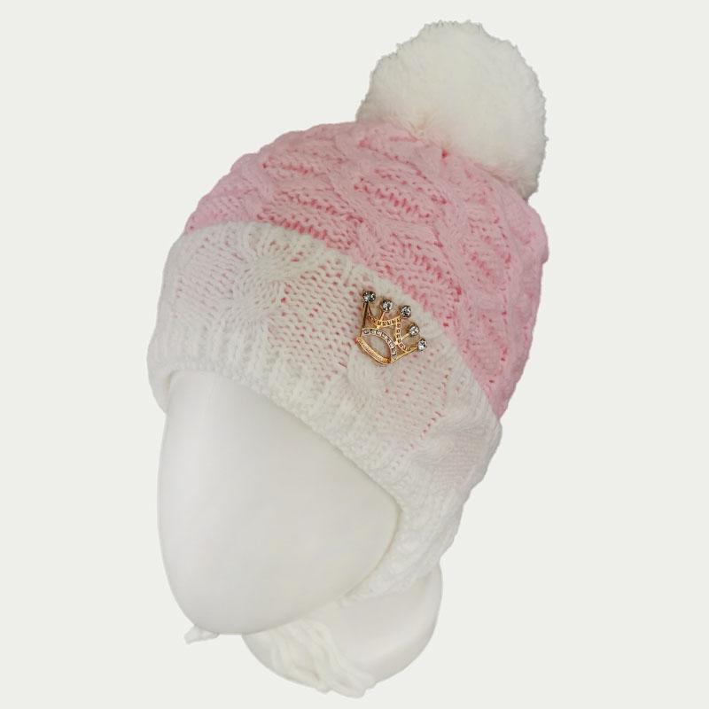 зд1247-36 Шапка вязаная с отворотом на завязках Корона нежно-розовая
