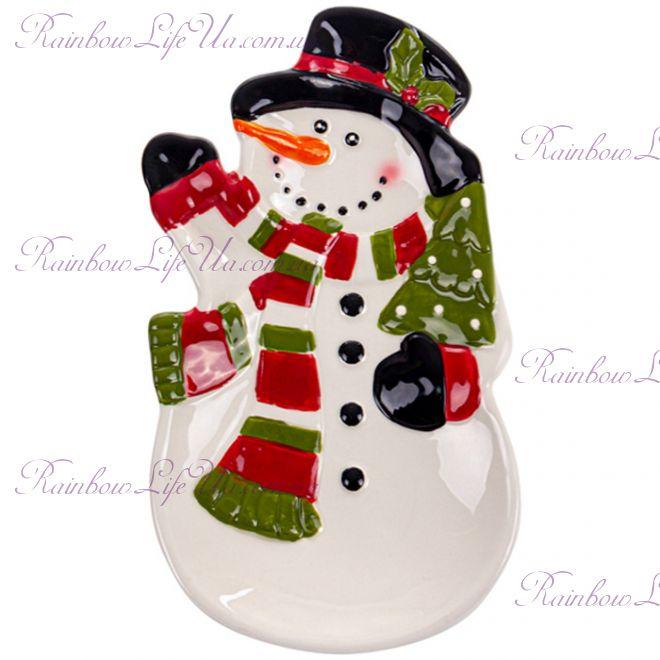 """Блюдо новогоднее 20 см """"Снеговик"""""""