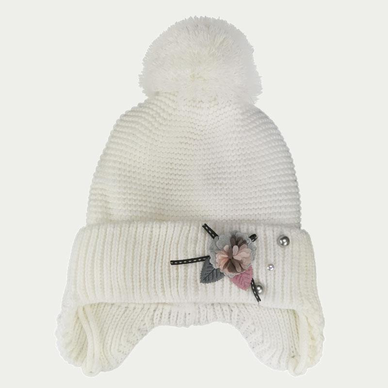зд1249-32 Шапка платочной вязки с отворотом на завязках Flower молочная