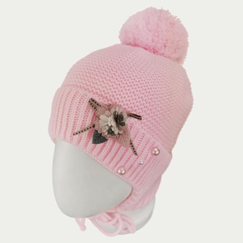 зд1249-36 Шапка платочной вязки с отворотом на завязках Flower нежно-розовая