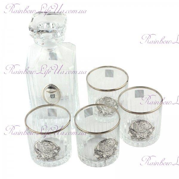 """Сет для виски 4 хрустальных стакана и графин Директорский квинта """"Boss Crystal"""""""