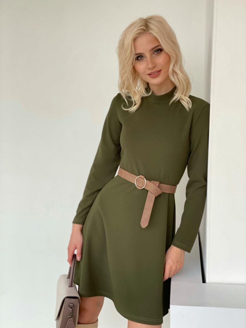 """4734 Платье трикотажное в цвете """"хаки"""""""