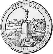 ПАРК №6 США - 25 центов 2011 год. Геттисбургский национальный военный парк. UNC