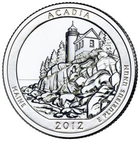 ПАРК №13 США - 25 центов 2012 год. Национальный парк Акадия. UNC