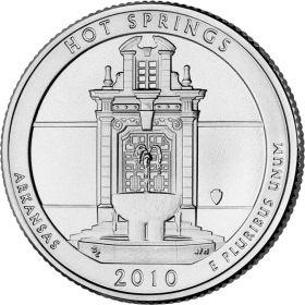 ПАРК №1 США - 25 центов 2010 год. Арканзас.Национальный парк Хот-Спрингс.UNC