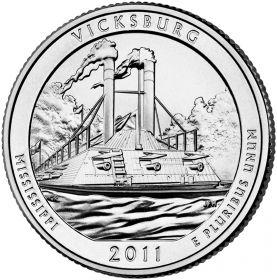ПАРК №9 США - 25 центов 2011 год. Миссисипи. Национальный военный парк Виксбург. UNC