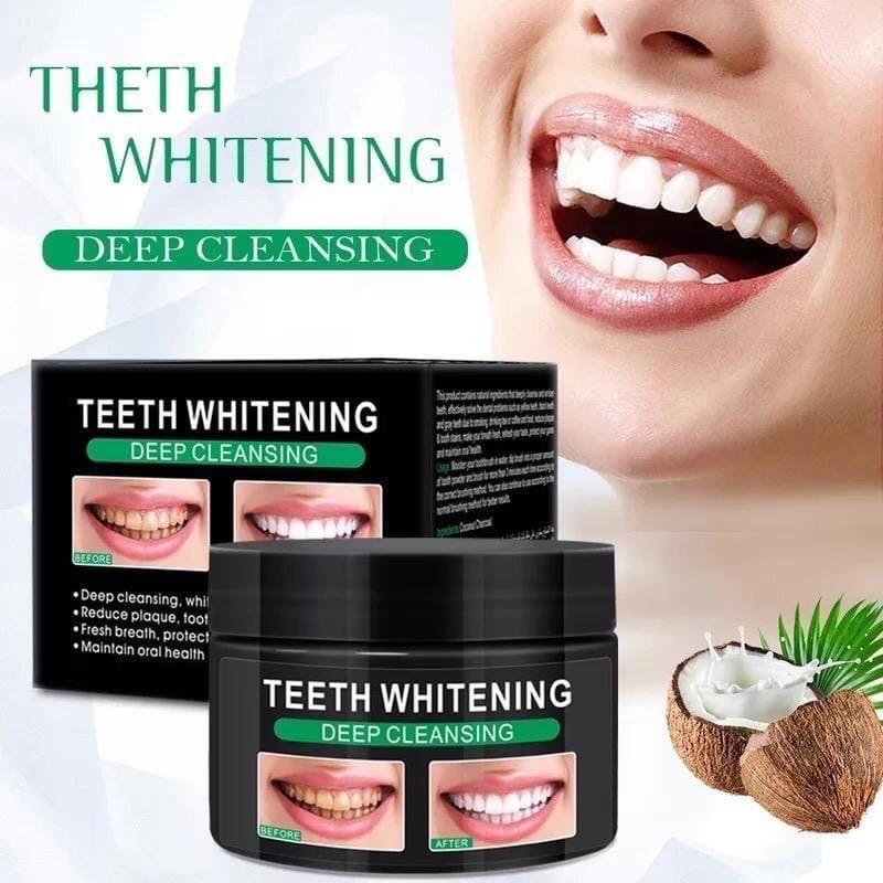 Отбеливающий зубной порошок с кокосом Pure Natural Teeth Whitening Deep Cleansing 60 мл (Zr180)
