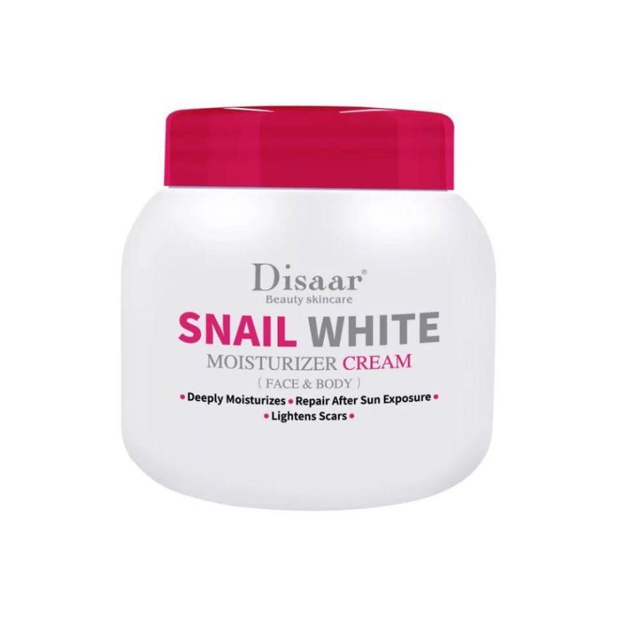 Отбеливающий увлажняющий крем для лица и тела с муцином Белой Улитки DISAAR Snail White Moisturizing Cream Face & Body 250 мл (XE180)