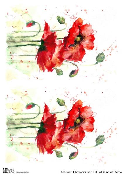 Декупажная карта Base of art, 20*30 см, Flowers set 10