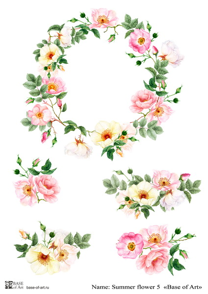 Декупажная карта Base of art, 20*30 см, Summer flower 5