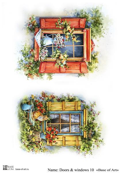 Декупажная карта Base of art, 20*30 см, Doors & windows 10