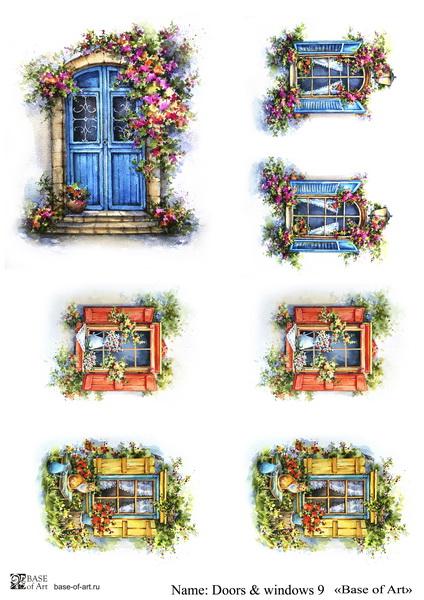 Декупажная карта Base of art, 20*30 см, Doors & windows 9