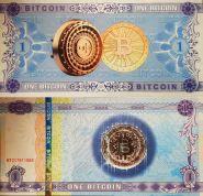 БИТКОИН - сувенирная банкнота (с технологией UVRED)