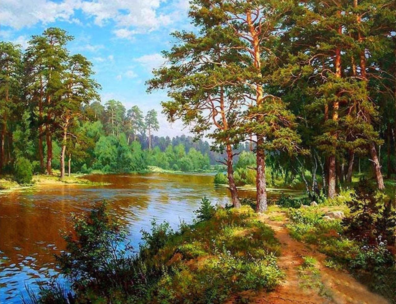 Алмазная мозаика на подрамнике HWA3807, Сергей Басов, Озеро в лесу