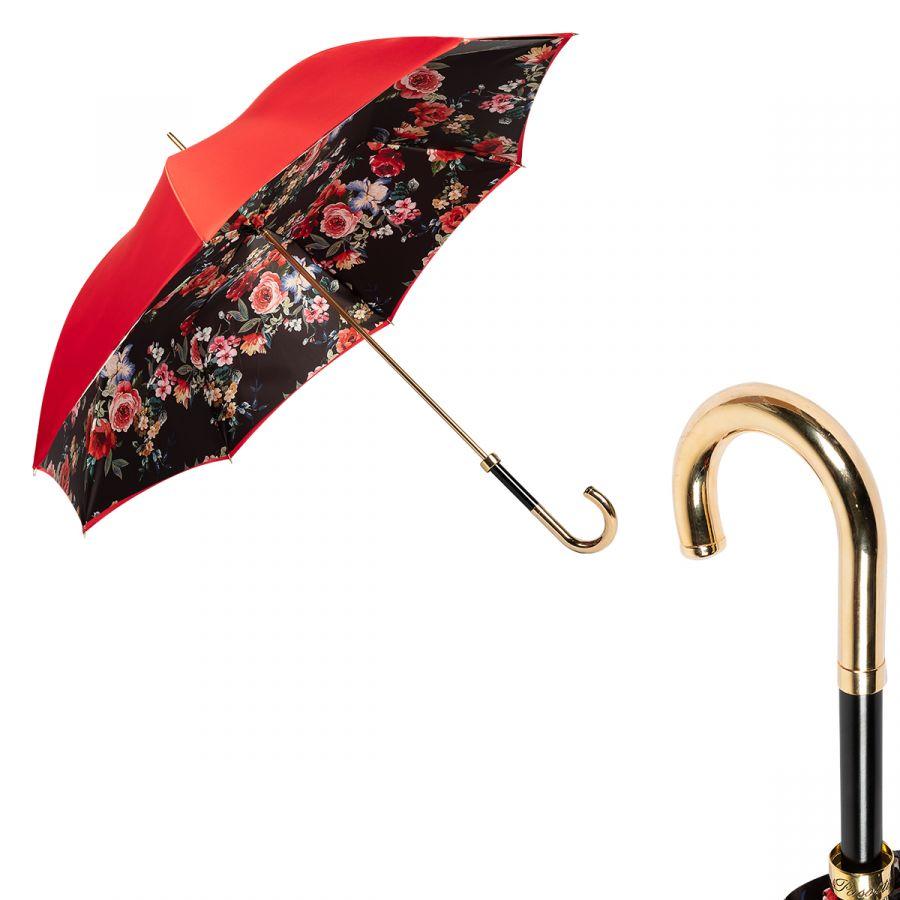 Зонт-трость Pasotti Rosso Fioritura Rosa Inox