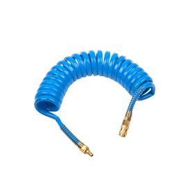 Шланг полиуретан (PU) 14*10, витой, 5 м, синий, БРС в комплекте