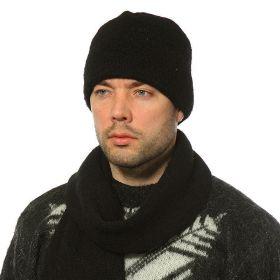 Шапка черная унисекс вязаная из Исландской шерсти 18200-18