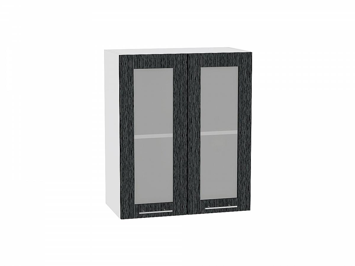 Шкаф верхний Валерия В600 со стеклом (чёрный металлик дождь)