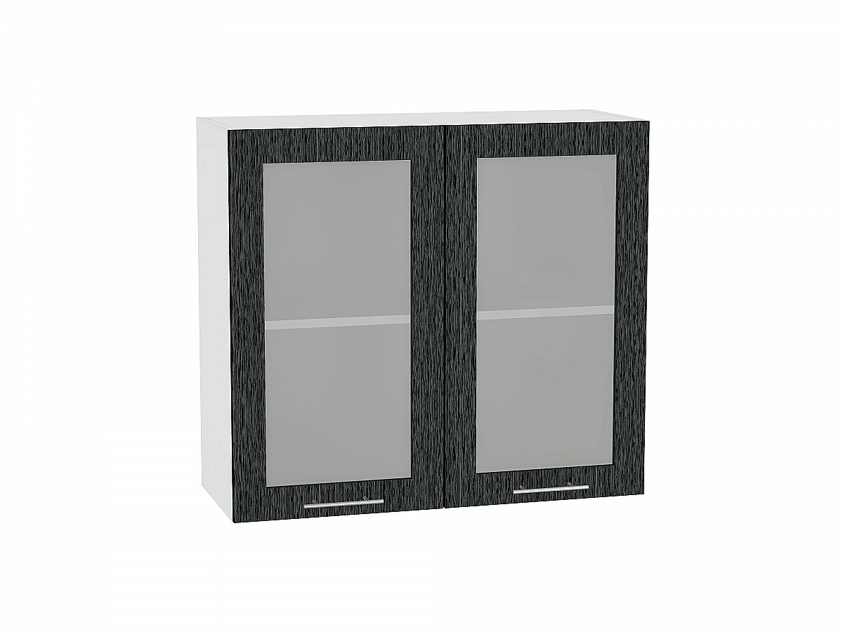 Шкаф верхний Валерия В809 со стеклом (чёрный металлик дождь)
