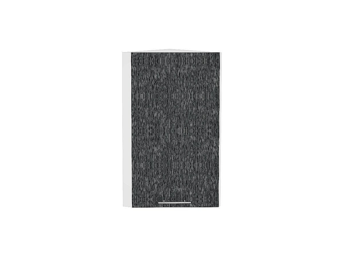 Шкаф верхний торцевой Валерия ВТ230Н (чёрный металлик дождь)